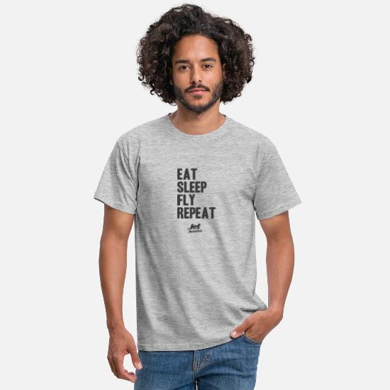 Jet T-Shirts - Jet Junkies Eat Sleep Fly Repeat Sig - Men's T-Shirt heather grey