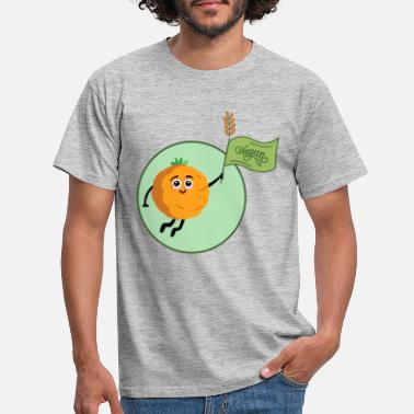Animal Welfare Funny orange with flag fruits vegetables vegetarian - Men's T-Shirt