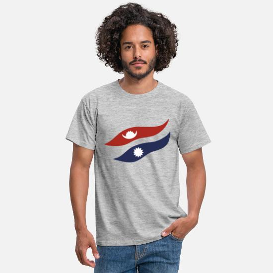 Nepal T-Shirts - Flag Of Nepal - Men's T-Shirt heather grey