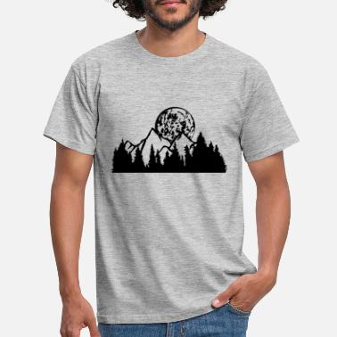 Hollidays full moon night moon mountains hills forest mountainous exp - Men's T-Shirt