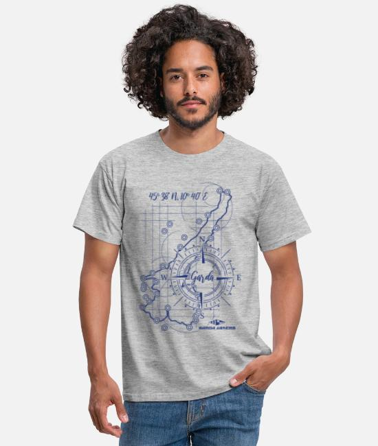 Sail Boat T-Shirts - Garda Lakers compass map - Men's T-Shirt heather grey