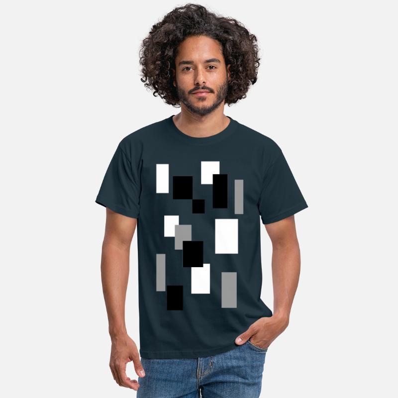 Rektangler svart hvit grå fin design T skjorte for menn