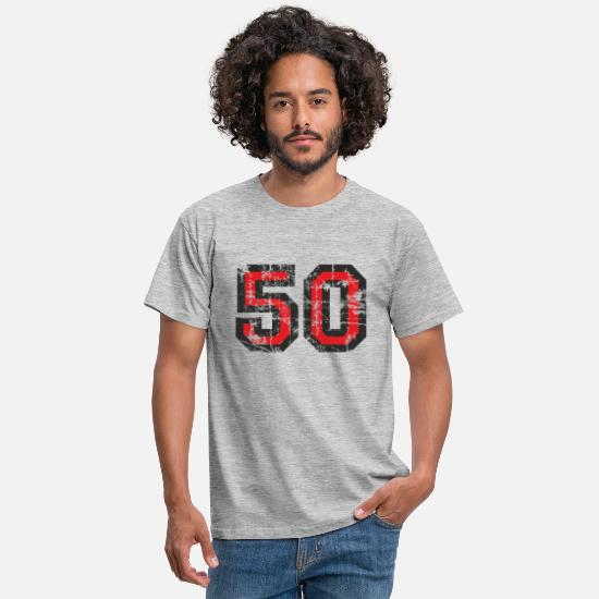 Birthday T-Shirts - Number 50 Fifty 50th Birthday Design - Men's T-Shirt heather grey