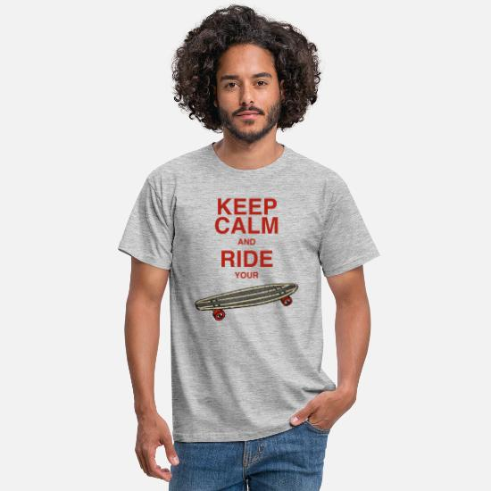 Youtube T-Shirts - keep calm and ride your board - rote Schrift - Männer T-Shirt Grau meliert