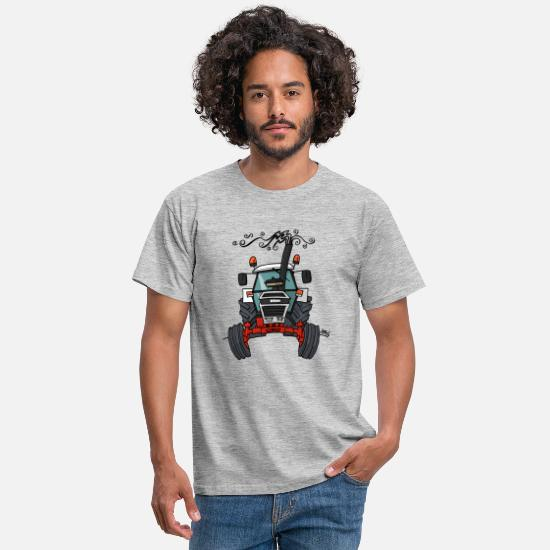 Tractor T-Shirts - 0421 Red white tractor - Men's T-Shirt heather grey