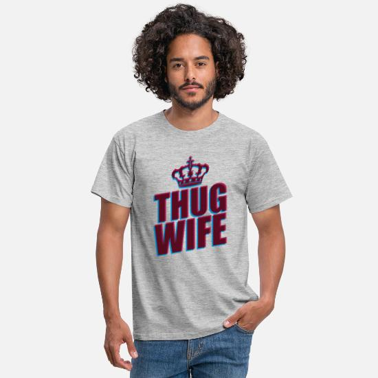 3d T-Shirts - thug wife queen crown princess queen koenigin 3d logo - Men's T-Shirt heather grey