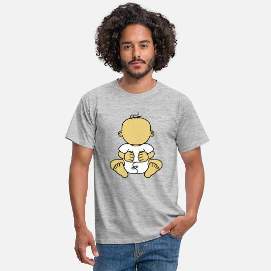 Kita T-Shirts - without face baby body funny child diaper small - Men's T-Shirt heather grey