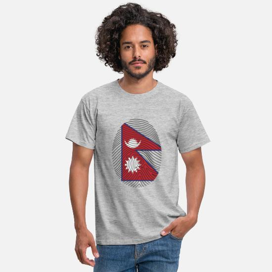 Nepal T-Shirts - Flag on Thumbprint - Men's T-Shirt heather grey