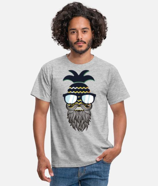 Beard T-Shirts - Funny perfect hipster pineapple - Men's T-Shirt heather grey