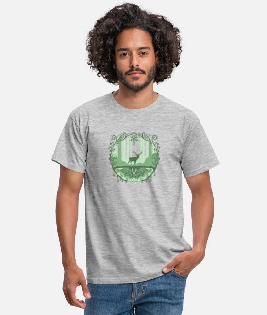 Nature Collection Camisetas - Deer in the forest 2 - Camiseta hombre gris jaspeado