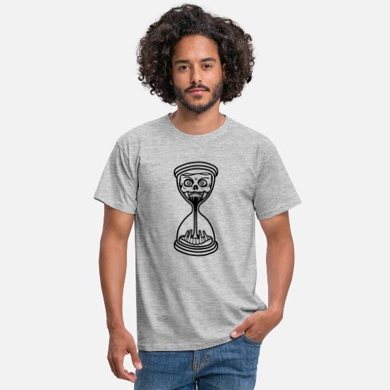 Alarm Clock T-Shirts - hourglass monster horror halloween scary boese se - Men's T-Shirt heather grey
