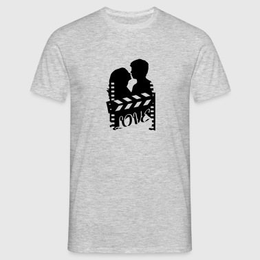 A love story with clapperboard and a loving couple - Men's T-Shirt