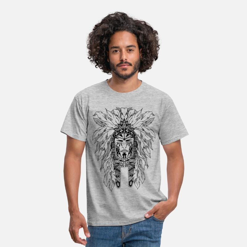 Black T-Shirts - indian - Men's T-Shirt heather grey