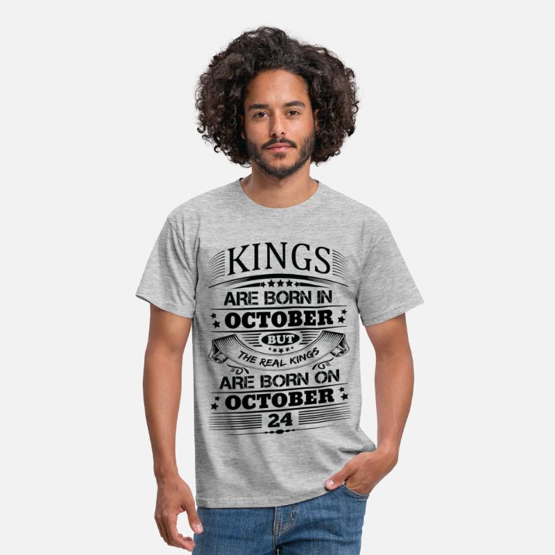October T-Shirts - Real Kings Are Born On October 24 - Men's T-Shirt heather grey