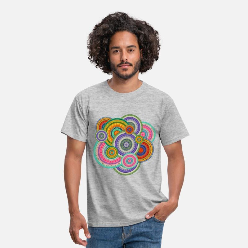 Ethnic T-Shirts - Colorful  Tribal Boho Ethnic Circular Pattern - Men's T-Shirt heather grey