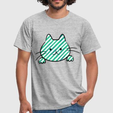 Cute Teal Striped Cat - Men's T-Shirt