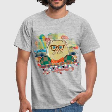 Hipster cat mixed media digital art collage  - Men's T-Shirt