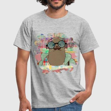 Hipster Seal  mixed media digital art collage  - Men's T-Shirt