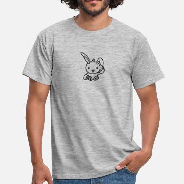 Fuck Rabbit Angry mean insult wicher mittelfinger show fuck yo - Men's T-Shirt