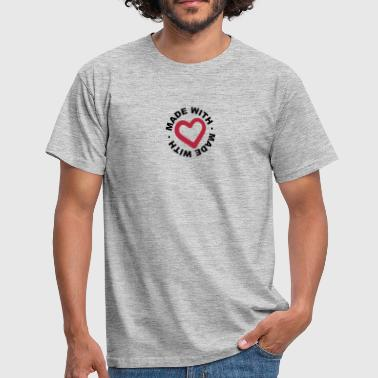 circle certificate round stamp made with love logo - Men's T-Shirt