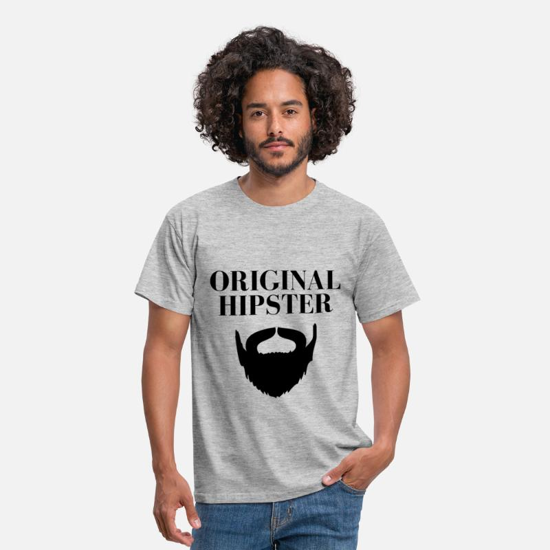 Hipster T-shirts - ORIGINAL BARBE.png - T-shirt Homme gris chiné