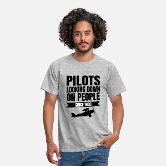 Birthday T-Shirts - Pilot captain co-pilot plane gift idea - Men's T-Shirt heather grey