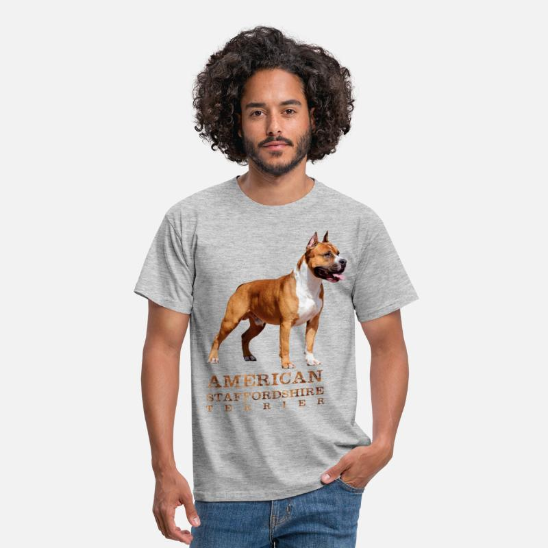 American T-Shirts - American Staffordshire Terrier -  - Men's T-Shirt heather grey