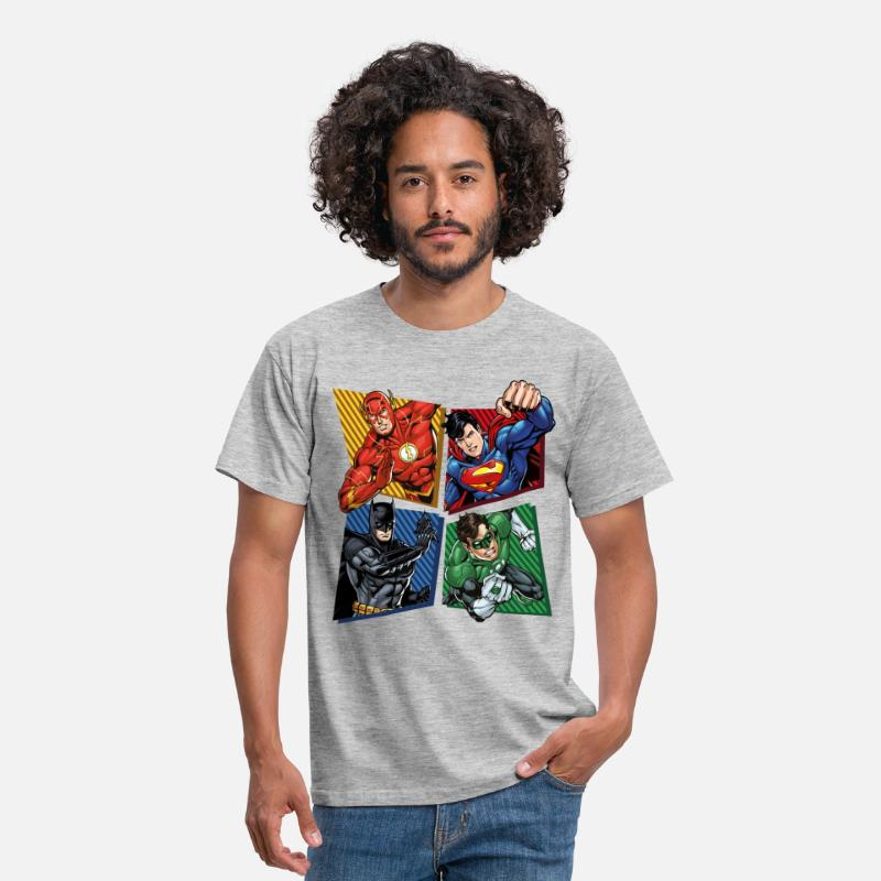 Comic T-Shirts - DC Comics Justice League Superhelden - Männer T-Shirt Grau meliert