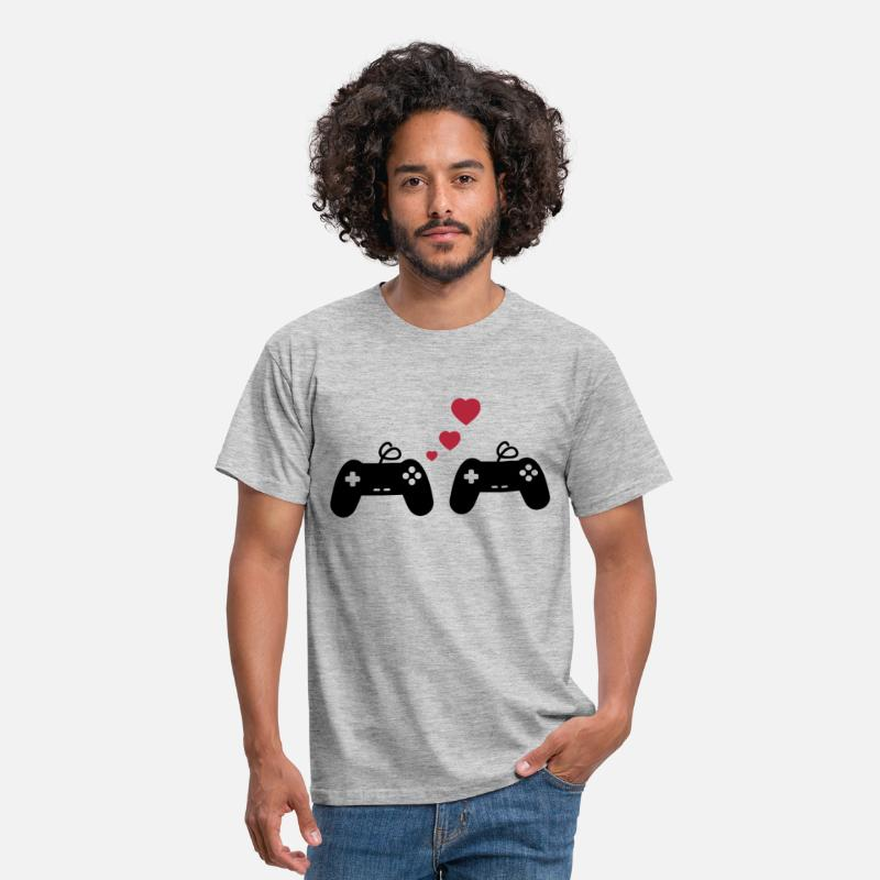 Couples T-Shirts - Game Love, Geek, Couple, Gaming, Gamer - Men's T-Shirt heather grey