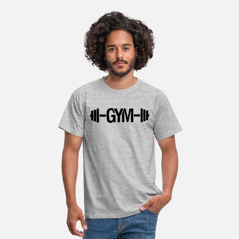 Body Builder T-Shirts - cool design gym text logo weight lifting dumbbell  - Men's T-Shirt heather grey