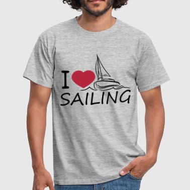 i love sailing love heart sailing boat ship club s - Men's T-Shirt
