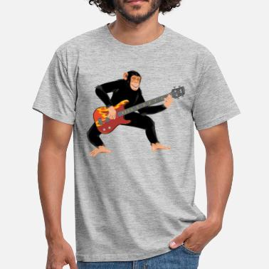 Fire Monkey Monkey with bass guitar - Men's T-Shirt