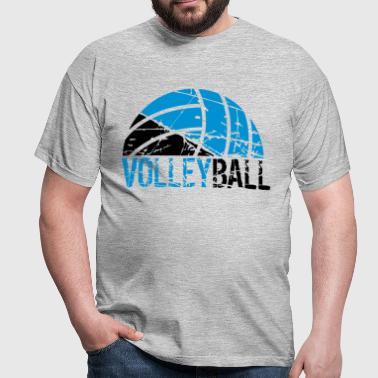 heart love volleyball round circle ball play club  - Men's T-Shirt