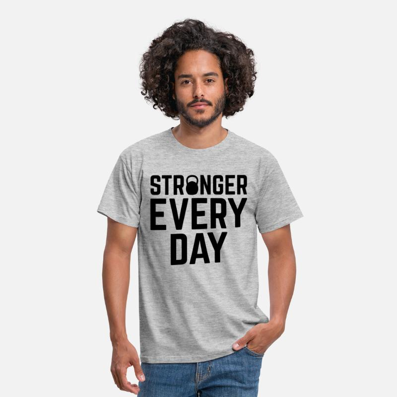 Body Building T-shirts - Stronger Every Day - T-shirt Homme gris chiné 2da154ea91d