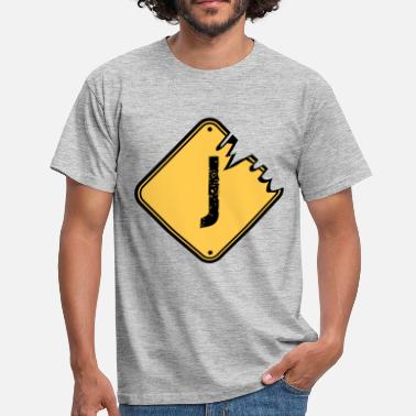 Old J J warning danger sign scratch old road sign cautio - Men's T-Shirt