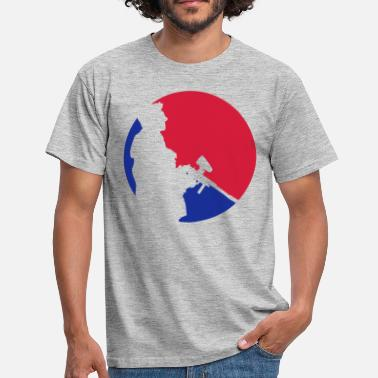 Enemy red blue circle round logo kaempfer opponent crew fine - Men's T-Shirt