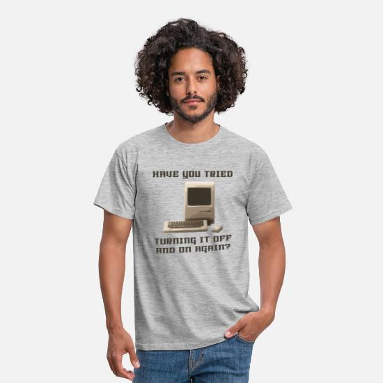 Vintage T-Shirts - Computer off and on again - Men's T-Shirt heather grey