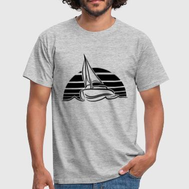 sun sunset sunrise sailing boat ship club sea sail - Men's T-Shirt