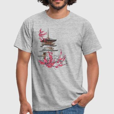 Sakura Pagoda and Sakura - Men's T-Shirt