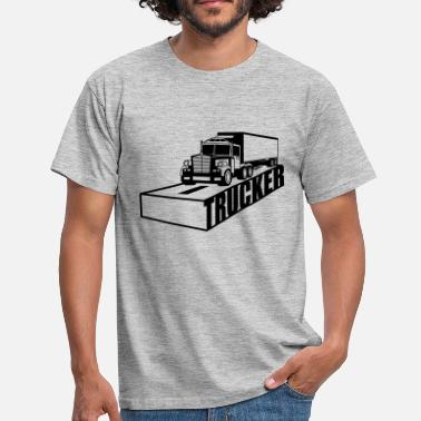 Lyrics text road logo truck truck truck farmer f - Men's T-Shirt