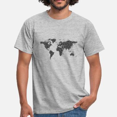 Nullen Binary World World Map Future - Mannen T-shirt