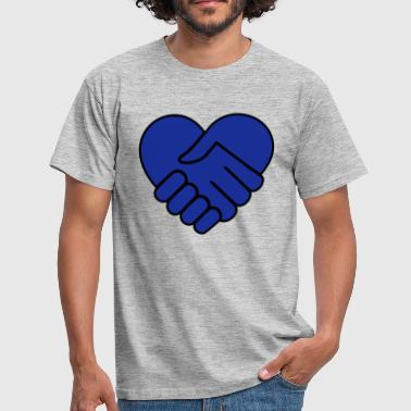 Hand On Heart Hand in hand heart blue - Men's T-Shirt