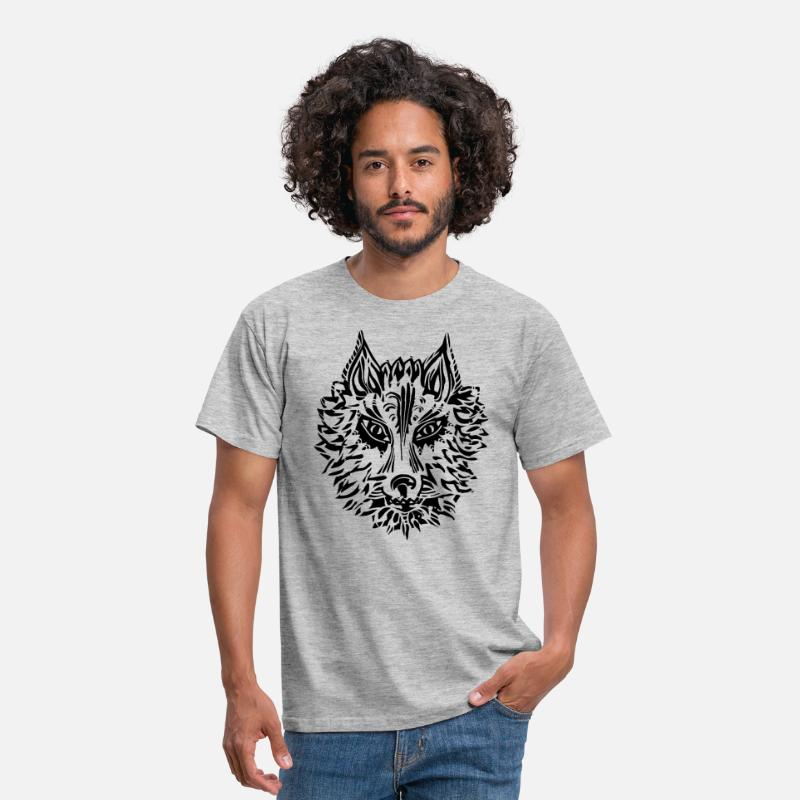 Wolf Animal Totem T-Shirts - Wolf, symbol of loyalty and strength, Animal Totem - Men's T-Shirt heather grey