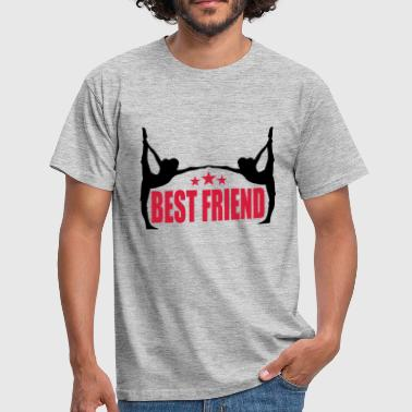 sport fitness yoga training best friends text logo - Männer T-Shirt