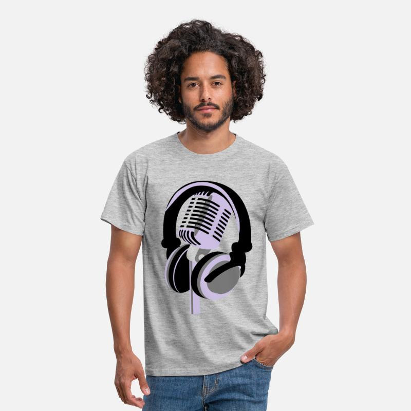 Retro T-Shirts - RETRO MICROPHONE AND HEADPHONES T-SHIRT - Men's T-Shirt heather grey