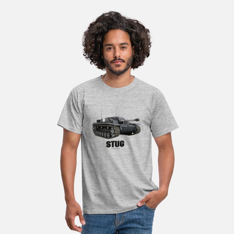 World Of Tanks Camisetas - World of Tanks Stug Homme sweat-shirt á capuche - Camiseta hombre gris jaspeado