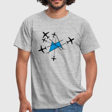logo cool design chemtrails många linjer top down  - T-shirt herr