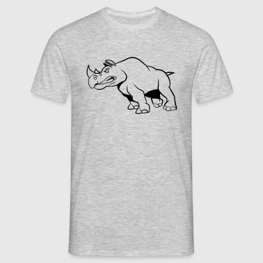 Rhino attaquant agressivement - T-shirt Homme