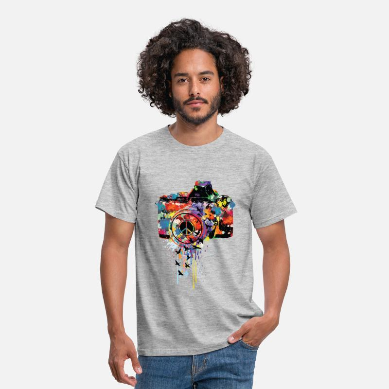 Coole T-Shirts - splattered camera - Männer T-Shirt Grau meliert