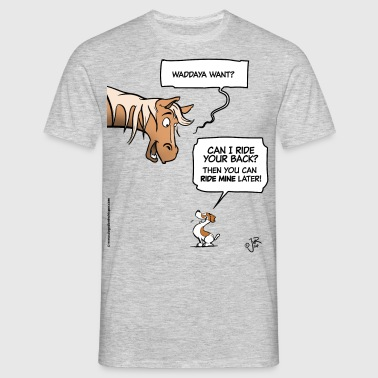 A horse and a Jack Russell terrier - Mannen T-shirt